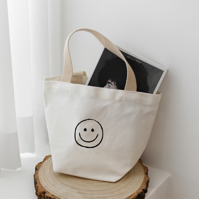 Smiling Face Print Tote Bag