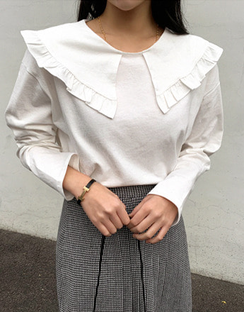 Frill-Trimmed Collar White Blouse